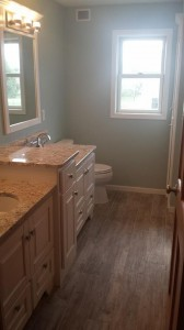 Vanity side of a small master bath remodel with my designer client